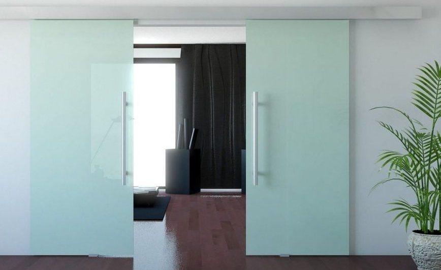 Двери стеклянные откатные
